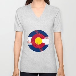 Colorado Flag Baseball Unisex V-Neck