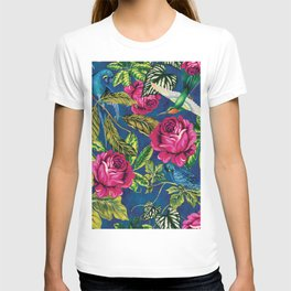 Parrots in the Jungle - Flowers and Birds on Blue Wall Decor Gift Idea T-shirt
