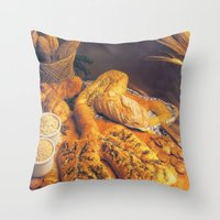 bread Throw Pillows featuring Bread by Richard McGee