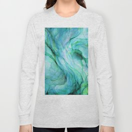 Sea Green Flowing Waves Abstract Ink Painting Long Sleeve T-shirt