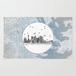 Sydney, New South Wales, Australia City Skyline Illustration Drawing Rug