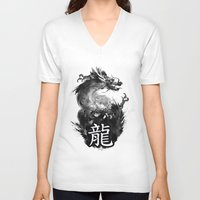 dragon V-neck T-shirts featuring Dragon by Jonathan Keuchkarian