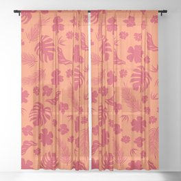 Tropical flora living coral pattern Sheer Curtain