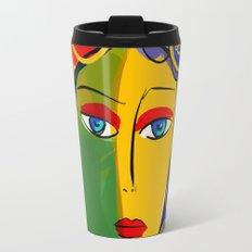 The Green Yellow Pop Girl Portrait Travel Mug