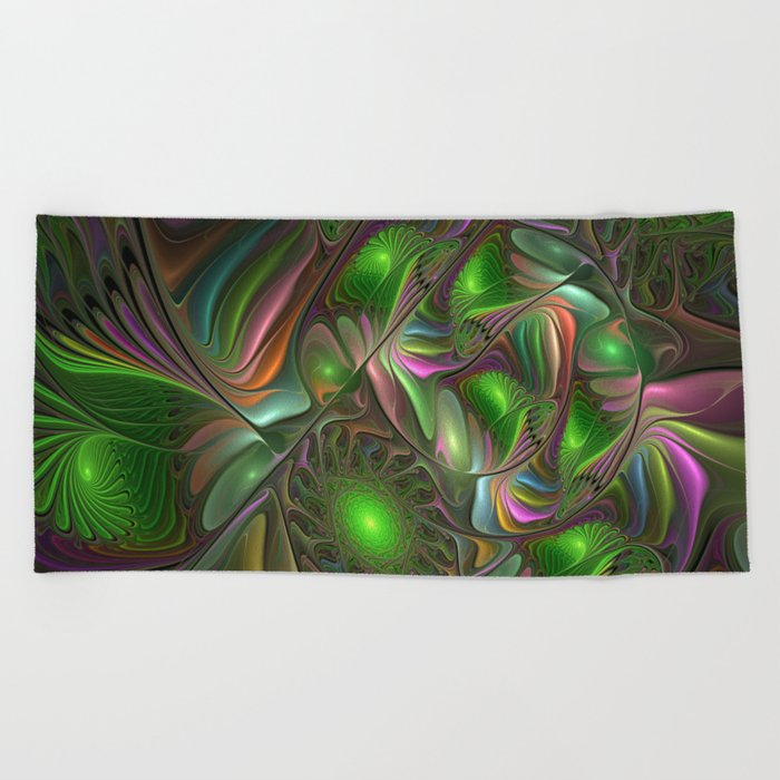 Colorful and Luminous, Abstract Fractal Art Beach Towel