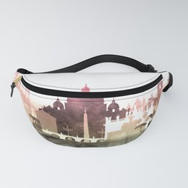 Rome Skyline Watercolor Blush Taupe Green by Zouzounio Art Fanny Pack
