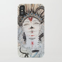Day of the Dead Portrait Sugar skull with Moth and insect iPhone Case