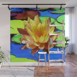 YELLOW WATER LILIES POND GREEN LILY PADS Wall Mural