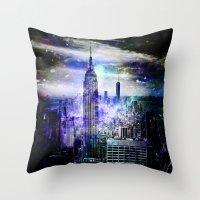 new york skyline Throw Pillows featuring New York Skyline by haroulita