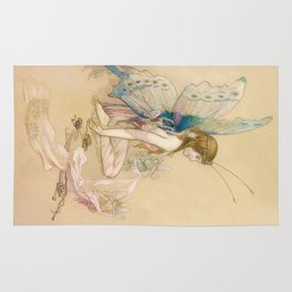 """""""There May Be Fairies"""" Art by Warwick Goble Rug"""