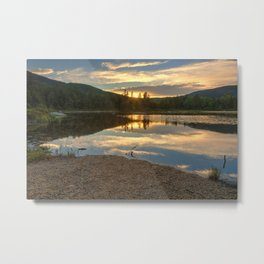 Lily Pond Sunset Metal Print