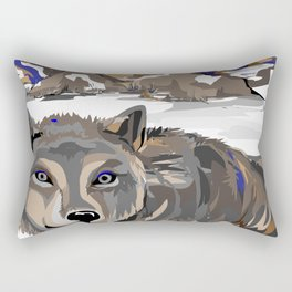 """Lone Wolf"" Paulette Lust's Original, Contemporary, Whimsical, Colorful Art  Rectangular Pillow"
