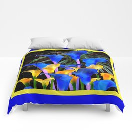 BLUE-BLACK MODERN ABSTRACT BLUE & GOLD CALLA LILIES Comforters