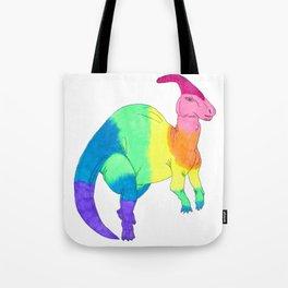 Parasaurolophus Dinosaur in Rainbow Gradient Ink Tote Bag