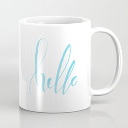 Hello - Handwritten lettering. Turquoise teal color Coffee Mug