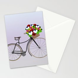 Bicycle Pansies Stationery Cards