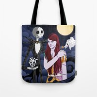 nightmare before christmas Tote Bags featuring The Nightmare Before Christmas by Cécile Appert