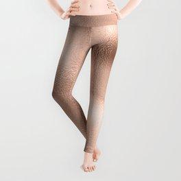Rose Gold Metallic Texture Leggings