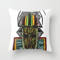 rasta Throw Pillows featuring African Rasta by Kwaku Osei Studio