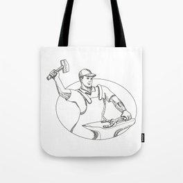 Farrier Wielding Hammer Oval Doodle Art Tote Bag