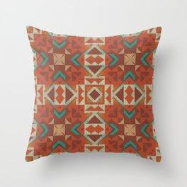 Orange Brown Teal Green Ethnic Mosaic Pattern Throw Pillow