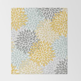 Floral Pattern, Yellow, Pale, Aqua, Blue and Gray Decke