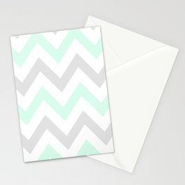 WASHED OUT CHEVRON (MINT & GRAY) Stationery Cards