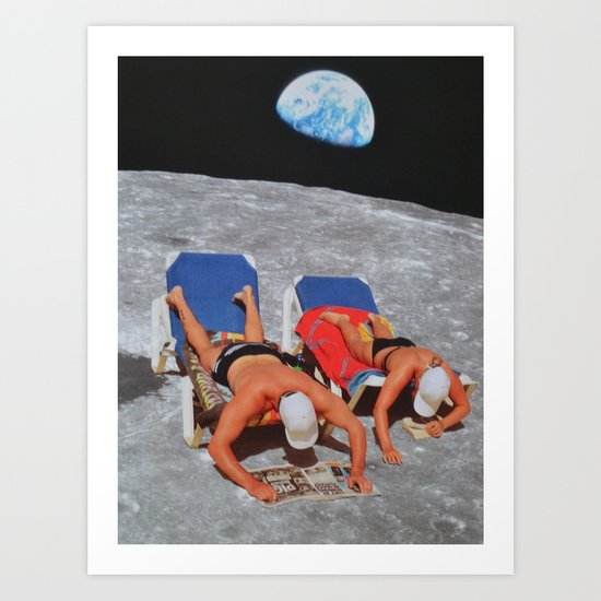 Chilling on the moon Art Print