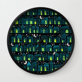 Starry Night in the City - Turquoise & Lime Wall Clock