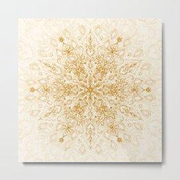 Sepia Snowflake Doodle Metal Print
