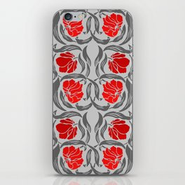 William Morris Pimpernel, Silver Gray and Red iPhone Skin