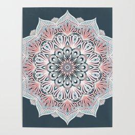 Expansion - boho mandala in soft salmon pink & blue Poster