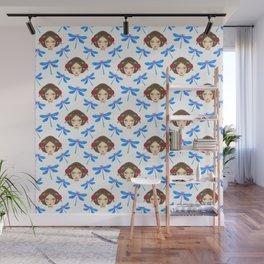 Pretty blue dragonflies, young girls dolls. Feminine folk artistic gorgeous lovely seamless pattern. Wall Mural
