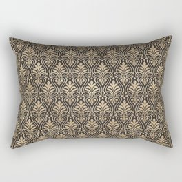 Chic Gold and Black Art Deco Leafy Damask Rectangular Pillow