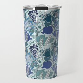 Seven Species Botanical Fruit and Grain in Blue Tones Travel Mug