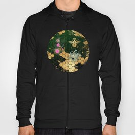 French chic, victorian,bee,floral,gold foil, belle epoque,art nouveau, green foil, elegant chic coll Hoody