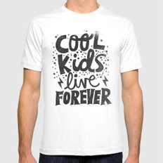 COOL KIDS LIVE FOREVER Mens Fitted Tee SMALL White