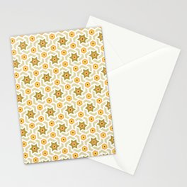 Green and orange hexagonal tile pattern Stationery Cards