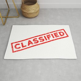 Classified Red Rubber Stamp Rug