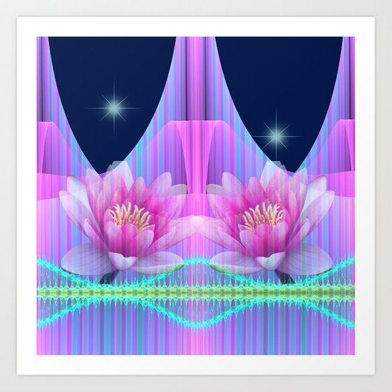 Magical night with Lotus flowers Art Print