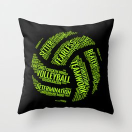 Lime Green Volleyball Wordcloud - Gift Throw Pillow