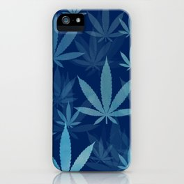 Marijuana Cannabis Weed Pot Blue Leaves iPhone Case