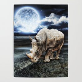 Rhino under the Moon Poster