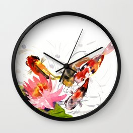 Koi Pond, feng shui koi fish art, design Wall Clock