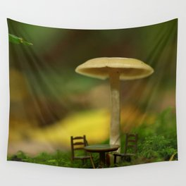 Mushroom With Tiny Table & Chairs... Wall Tapestry