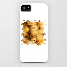 Clutch of Yellow Fluffy Chicks With Decorative Border iPhone Case