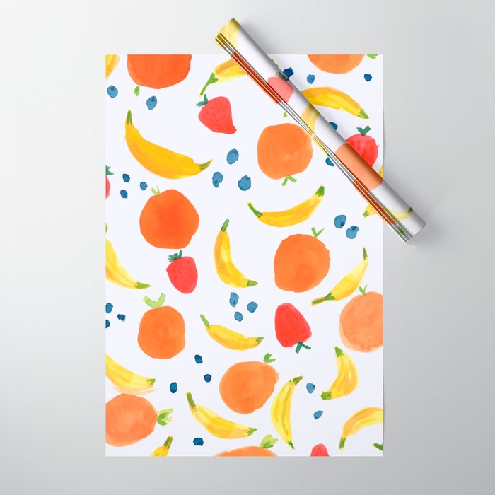 Fruit Pattern with Bananas Strawberries Blueberries Oranges Tropical Summer Florida Sweet Fruits Wrapping Paper