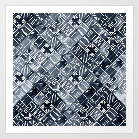 Simply Tribal Tiles in Indigo Blue on Lunar Gray Art Print