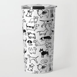 Black and White Dog Drawings | Cute Canines Pattern Travel Mug