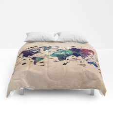 Oceans Life World Map Comforters